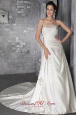 Crystal Neckline Church Bridal Dress Princess around 200