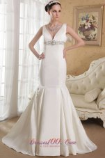 Mermaid V-neck Bridal Dress Gilding Court Train Satin