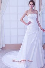 A-line White Wedding Reception Dress Beaded Chapel