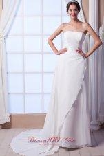 Asymmetrical Column Beach Wedding Dresses Strapless Chiffon