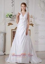 Affordable Wedding Bridal Dress A-line V-neck Piece Satin