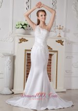 Lace Wedding Dress Mermaid One Shoulder Court Train Satin