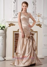 Champagne Themed Wedding Dress Mermaid Halter Brush Train