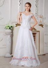 White Lace Bridal Destination Wedding Dress Off the Shoulder