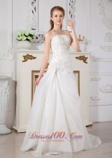Princess Strapless Bridal Dress Lace Wedding Reception