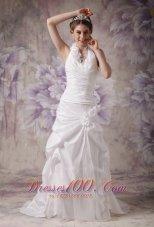 A-line Halter Wedding Gowns Pleated Taffeta Handle Flowers