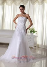 A-line Tulle Lace Wedding Dress Strapless Chapel Train