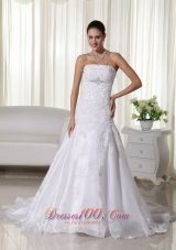 Spring Mermaid Strapless Lace Wedding Bridal Dress Brooch