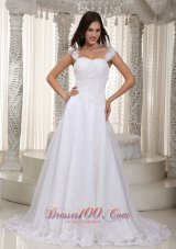 Gorgeous Wedding Bridal Dress Straps Lace Gingle Border
