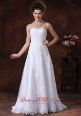 Lace Sweetheart Wedding Dress Appliques A-Line Lace-up