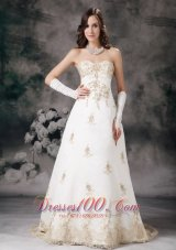 Affordable Off White Wedding Gowns A-line Sweetheart Lace