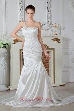 Mermaid One Shoulder Bridal Dress Court Taffeta Beaded