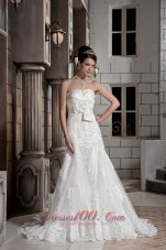 Handle Flowers Wedding Dress A-line Lace Overlay