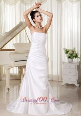 Ivory Wedding Gowns Appliques Strapless Custom Made Column