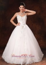 Spaghetti Straps Beaded Bowknot Wedding Dress Lace Tulle