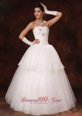 Lace Layer Crystal Sweetheart Church Wedding Dress Custom