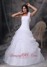 White Floral One Shoulder Wedding Gowns Organza Ruch