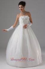 Strapless Tulle Appliques Wedding Dress Ball Gown