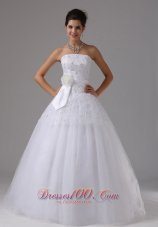 Floral Accent Wedding Dress Lace Bodice Sash Tulle