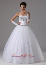 Ball Gown Beaded Decorate Bust Sweetheart In Antioch California For Modest Wedding