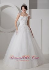 Straps Tulle Princess Bridal Gowns Beading Appliques