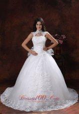 High Neckline Lace Bridal Gowns Chapel Train Lace Skirt