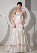 Pink Appliques Ivory Wedding Dress A-line Strapless Court