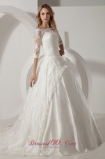 Chapel Train Lace Wedding Dress With Half Sleeves
