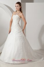 Sweetheart Court Train Appliques Wedding Dress