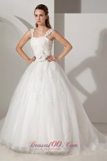 Appliques Court Train Lace Wedding Dress With Straps