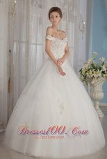 Off The Shoulder Ball Gown Beading Wedding Dress