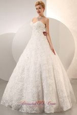 Ball Gown Beaded Wedding Dress With Rolling Flower