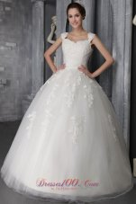 Lace Appliques Wedding Dress With Straps Ball Gown