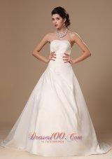 Beaded Church Wedding Dress Court Train Ball Gown