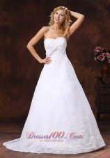 Embroidery A Line Wedding Dress With Brush Train