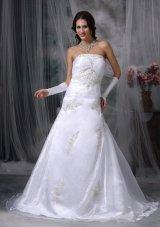 Strapless Organza Appliques Court Train Wedding Dress