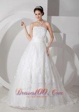 Brush Train A Line Strapless Wedding Dress Sash