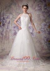 Halter Chapel Train Beading Lace Bridal Wedding Dress