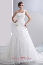 One Shoulder Flowers Ruched Chapel Wedding Dresses