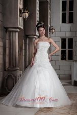 Beading Strapless Ball Gown Court Train Wedding Dress