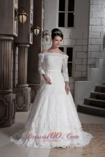 Off The Shoulder Appliques Brush Sleeves Wedding Dress
