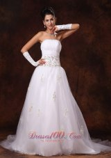 Beaded Tulle Court Train Appliques Wedding Dresses