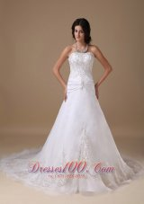 Chapel Train Appliques Wedding Dress For Spring