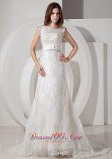 Square Court Train Wedding Bridal Dress Sashed