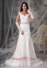 Organza V Neck Appliques Sash Wedding Dress
