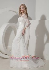 Organza V Neck Lace Sleeves Chapel Train Wedding Dress