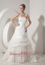 Appliques Chapel Train Organza Bridal Wedding Dress