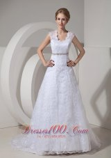 Lace Beading Court Train Bridal Gown Wedding Dress
