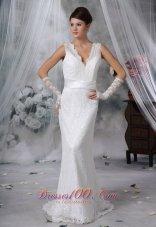 Sash Lace V Neck Brush Bridal Wedding Dress