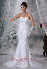 Mermaid Sweetheart Court Train Lace Wedding Dress